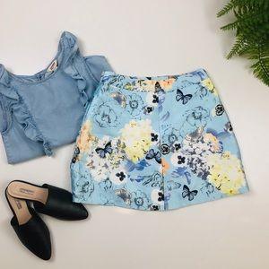 Butterflies A Line Mini Skirt With Pockets XS/S